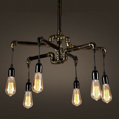 Antique Wrought Iron Pipe Chandelier Brass Pendant Ceiling Lamp Steampunk