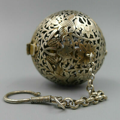 Incense Burner Pendants Built-in Gyroscope Fragrant Smoked Ball Antique Silver