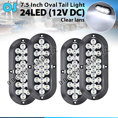 "4 x Flush Mount 6"" Oval White 24 LED  Reverse Backup Rear Tail Light 12V Pickup"