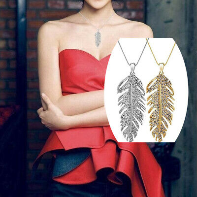 Women Bohemian Glamour Crystal Feather Leaf Pendant Chain Necklace Jewelry