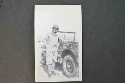 Vintage Photo WWII Army Soldier w/ Military Jeep named Lena 959046