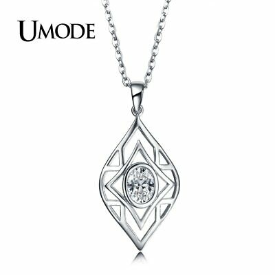 Fashion Charm Chain Hollow Eye Oval Cubic Zirconia Pendant Silver Necklaces Gift