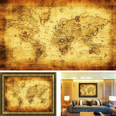 Vintage Style Retro Cloth Poster Globe Old World Nautical Map Home Decoration