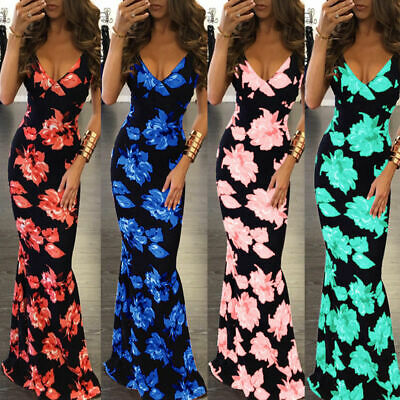 Hot Fashion Women's Floral Long Dress Sexy Cocktail Party Beach Sundress Skirt
