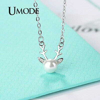 Fashion Long Deer CZ Pearl Necklace Pendants Women's Jewelry Valentine's Gift