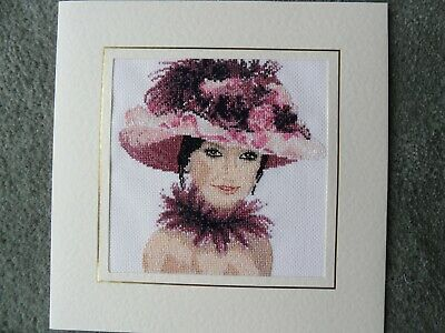 Extra Large completed cross stitch card  Elegant Lady