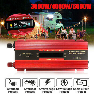 3000W-6000W Car Power Inverter 12/24V to 110V/220V Modified Sine Wave