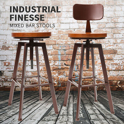 Industrial Vintage Retro Chair Metal Craft Bar Stool Cafe Counter Kitchen Pub