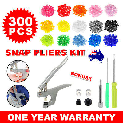 Snap Pliers + 300 Sets T5 Size Snaps Resin Plastic Fastener Button Press Stud AU