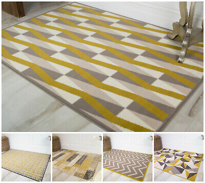 Mustard Yellow Modern Living Room Rugs Small Large Geometric Cheap Homely Rug UK