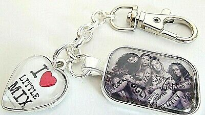 LITTLE MIX 30 mm] LOVE HEART KEY RING STRONG CHAIN SILVER PLATED GIFT BOX PARTY