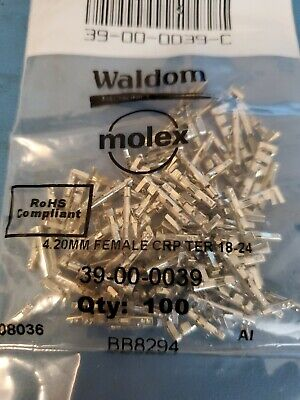 39-00-0039 Molex Conn Term Female 18-24Awg Tin 120 Pcs