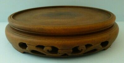 Antique Japanese Chinese Cloisonné Treen Wooden Vase Pierced Base Stand Rare