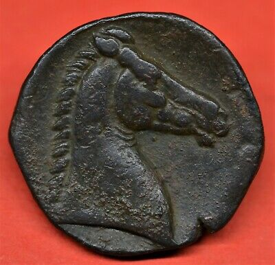 Superb Bronze Shekel Of Zeugitana, Carthage, 299-201 Bc. Tanit / Horse. E.f.