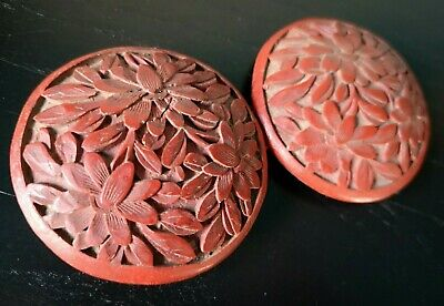 Beautiful Antique Chinese Qing Dynasty Carved Cinnabar Lacquer Belt Buckle Nr!