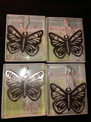 Lot Of 4 Kate Aspen Stainless Steel Butterfly Bookmark Signet With White Tassel