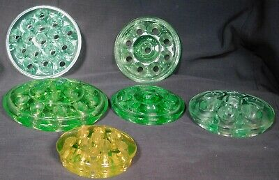 6 Antique Depression Green Glass Flower Frogs Vaseline 16 Holes 11 and 9 OLD
