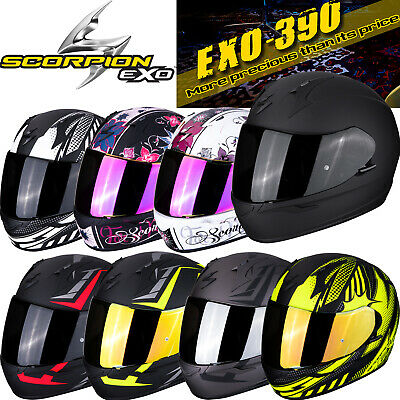 bade138f SCORPION EXO 390 Motorrad Integralhelm Pop Hawk Chica Solid bzw. Visier  optional