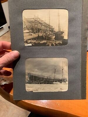 2 Vintage Rare Real Photo Of Large Wooden Ship Being Built 1900's Essex Mass?
