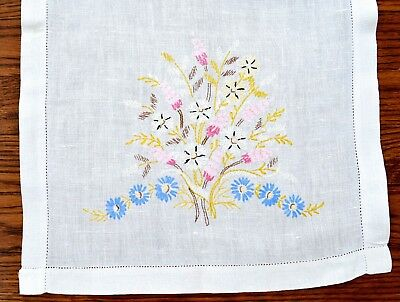 Vintage Hand Embroidered Linen Runner Florals Blue Daisies Pink Hemstitched