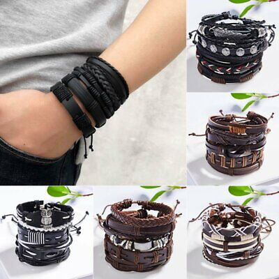 Father's Day Gift Mens Punk Leather Wrap Braided Wristband Cuff Bangle Bracelet