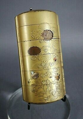 Superb Quality Antique Japanese Meiji Gold Lacquer 6 Case Shibayama Inro Losses