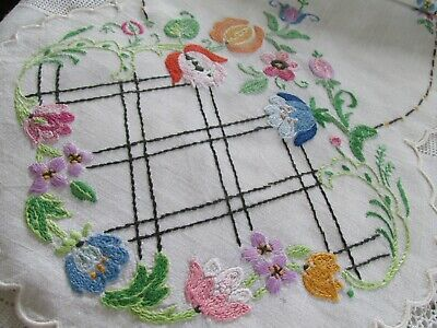 Vintage Hand Embroidered Linen Table Runner-BEAUTIFUL RAISED FLORAL'S