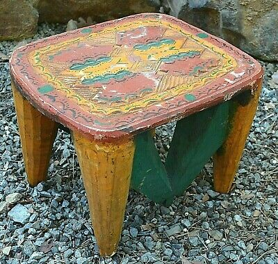 Antique African Nupe Tribe Carved Square Wood Stool Hand Painted Nigeria, Africa