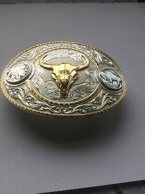 Sterling Steer Belt Buckle From Montana Silversmiths ,gold Steer And Buffalo Mic