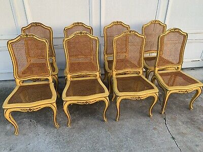 Vintage Shabby Distressed Carved French Country Set of 8 Cane Chairs