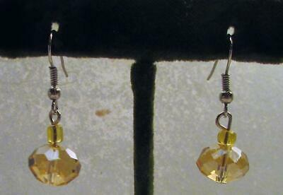 Vintage 70's Glass Crystal Bead Pierced Earrings Golden Yellow