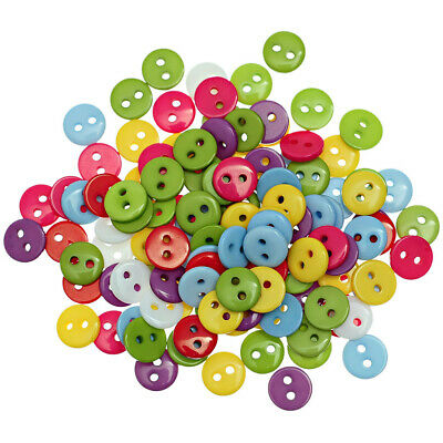 100PCS 2 Holes Mixed Color Round Resin Buttons Sewing & Scrapbook 6/9/11/13/15mm