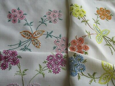 Vintage Hand Embroidered Linen Tablecloth-PRETTY FLORAL'S & LACE