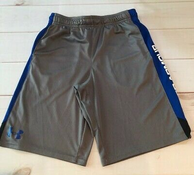 Under Armour Boys Youth Gray Royal Sport Shorts, Great Condition, Youth Large YL