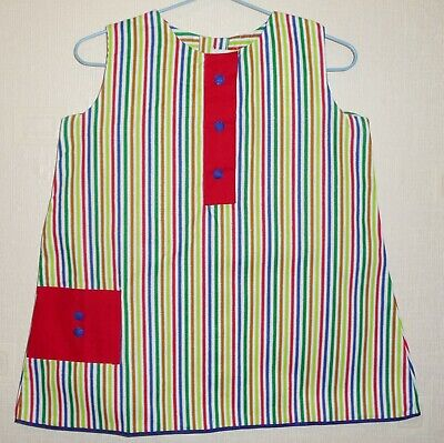 VINTAGE 1970's UNWORN GIRLS WHITE & RED STRIPED DRESS AGES 12 months to 3 years