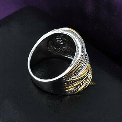 Men/Women's Fashion Punk 2-Tone Stainless Steel Ring Wide Band Jewelry Gifts