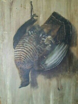 Antique 19th Century Oil Painting Canvas relined Ruffed Grouse partial signature