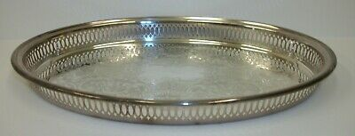 Vintage Leonard Silverplated Oval Reticulated Serving Tray