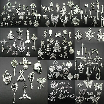 100 Different Types Tibetan Silver Retro Style Charm Pendants Jewellery Making