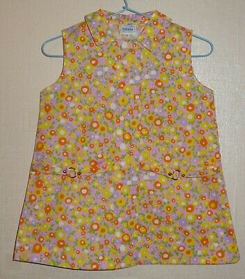 VINTAGE 1970's UNWORN GIRLS FLORAL BELT DRESS PINK AGES 12 months to 6 years