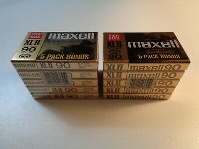Estate Huge Lot 10 Maxell High Bias XLII 90 Minutes Sealed Blank Cassette Tapes
