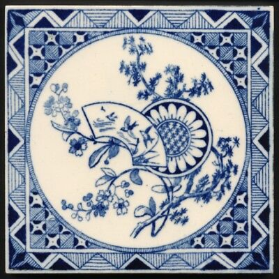 TH2372 Minton Aesthetic Japanesque Transfer Printed Blue & White Tile c.1878