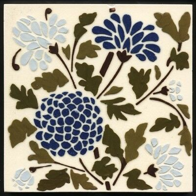 TH2863 Fabulous Wedgwood Barbotine Stencil Carnations Tile c.1885