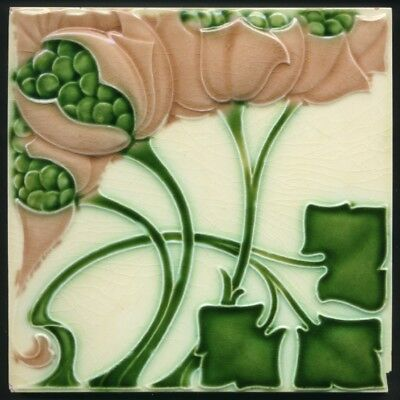 TH3521 Exceptional Rare & Outrageous Art Nouveau Majolica Tile Meakin Rd.1905