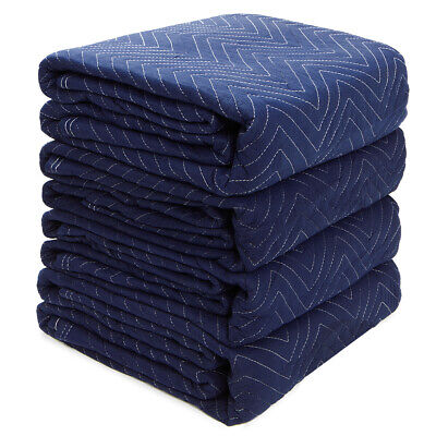 Set of 4 Moving Blankets (20lb) Heavy Duty Furniture Shipping Moving Pads Mats