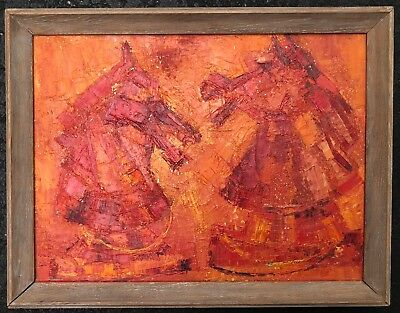 Vintage 1950s Abstract Horse Oil Painting Mid Century Modern Wall Hanging Signed