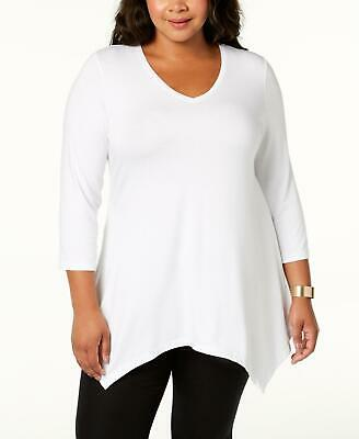 JM Collection 2116 Plus Size 1X White Solid Pullover Top Handkerchief Hem $39