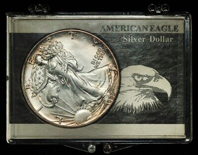 1986 Uncirculated American 1oz Silver Eagle, First Year of Issue, Toned, w/ Case