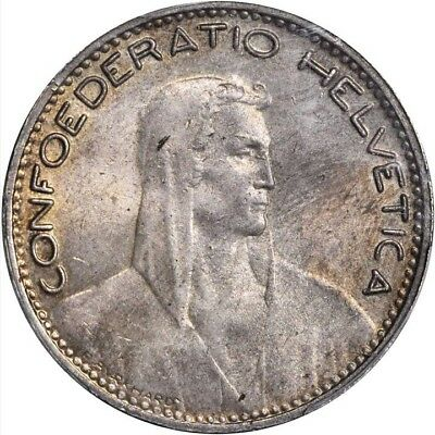 Switzerland 1923-B  5 Francs Silver Coin Almost Uncirculated Certified Pcgs Au58