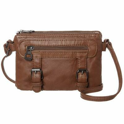 Women Soft Synthetic Leather Small Crossbody Bag Mini Crossbody Cell Phone(Brown